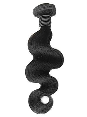 1pcs 16inch Preto Natural onda do corpo peruano Virgin cabelo Weave