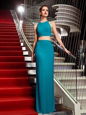 포멀 이브닝 / 밀리터리 볼 드레스 - 오픈 백 / 투피스 시스 / 칼럼 홀터 넥 바닥 길이 져지 와