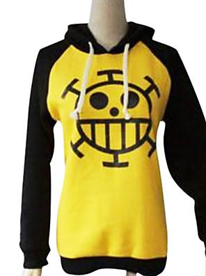 Innoittamana One Piece Trafalgar Law Anime Cosplay Puvut Cosplay hupparit Painettu Musta / Keltainen Pitkä hiha Päälystakki