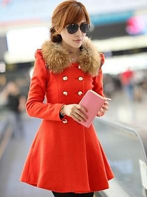 Téli-Női Kabát,Egyszínű Hosszú ujj Fekete / Narancs Gyapjú / Nejlon Vastag