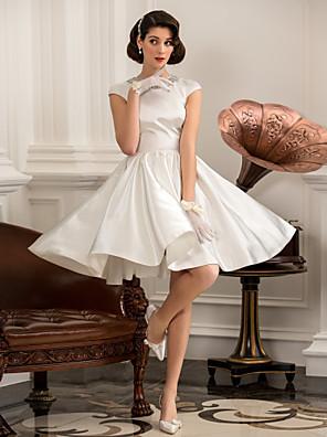 Lanting Bride® גזרת A / נסיכה קטן / מידה גדולה שמלת כלה - קלסי ונצחי / לקבלת פנים שמלות לבנות קטנות / קו תחתון פשוט באורך  הברךעם