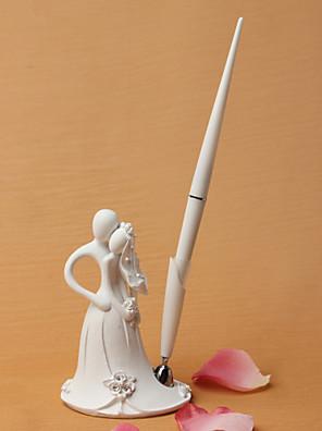 brud og brudgom design bryllup pen sæt i hvid harpiks