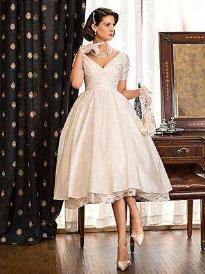 Lanting Bride A-line / Princess Petite / Plus Sizes Wedding Dress-Tea-length V-neck Taffeta