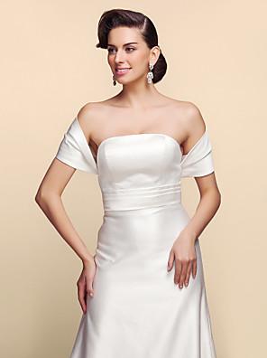 Wedding  Wraps Shrugs Short Sleeve Satin White Wedding / Party/Evening