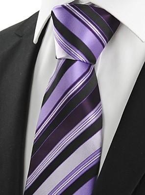 Csók Tie új, csíkos lila fekete luxus férfi nyakkendő nyakkendő lakodalom Holiday Gift