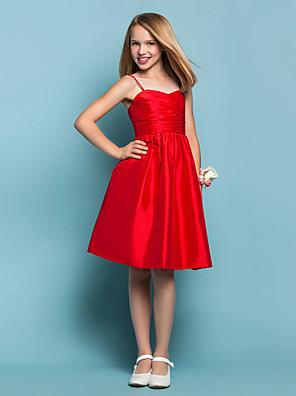 Lanting Bride® Ke kolenům Taft Šaty pro malou družičku A-Linie / Princess Srdce / Špagetová ramínka Přirozený s Křížení