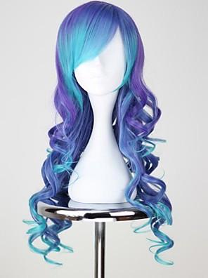 פאות קוספליי Vocaloid Luca כחול בינוני / מסולסל אנימה פאות קוספליי 75 CM סיבים עמידים לחום נקבה