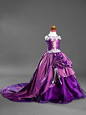Lanting Bride Plesové šaty Velmi dlouhá vlečka Šaty pro květinovou družičku - Satén / Taft Bez rukávů Špagetová ramínka sAplikace /