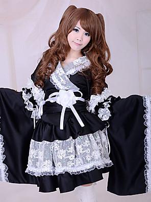 חצאית / חליפות חדרניות Wa Lolita לוליטה Cosplay שמלות לוליטה Black טלאים שרוול ארוך אורך בינוני מעיל קימונו / חצאית / שרוול / חגורה / קשת