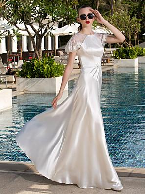 Lanting Bride® Linha A Pequeno / Tamanhos Grandes Vestido de Noiva - Chique e Moderno / Elegante e Luxuoso Renda Floral Longo Decote em U