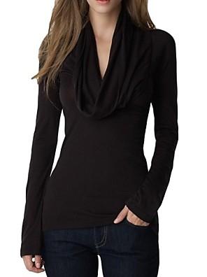 Mulheres Camiseta Casual Simples Primavera / Outono / Inverno,Sólido Preto / Cinza Poliéster / Elastano Gola Boba Manga Longa Fina