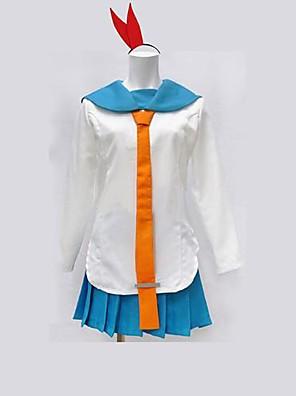 Inspirado por Nisekoi Kirisaki Chitoge Anime Fantasias de Cosplay Ternos de Cosplay Patchwork Branco / Azul Manga Comprida Top / Saia