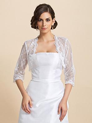 결혼식 랩 코트 / 재킷 반 소매 레이스 화이트 웨딩 / 파티/이브닝 / 캐쥬얼 티셔츠 오픈 프론트