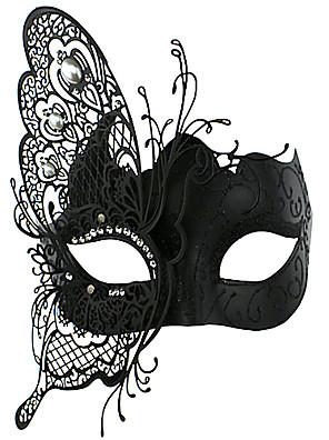 Máscara Fantasias Festival/Celebração Trajes da Noite das Bruxas Preto Cor Única / Rendas Máscara Dia Das Bruxas / Carnaval Unisexo Metal