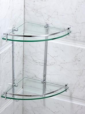 Badeværelseshylde Krom Vægmonteret 25*25*40cm(9.8*9.8*15.8inch) Rustfrit stål / Glas Moderne