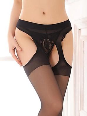 sexy nylon preto virilha aberta meia-calça feminina
