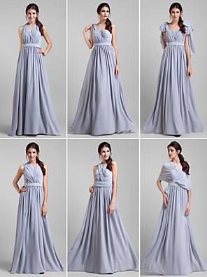 Lanting Bride® Na zem Žoržet Šaty pro družičky - Různorodé šaty A-Linie Větší velikosti / Malé s Šerpa / Stuha / Křišťálová brož / Křížení