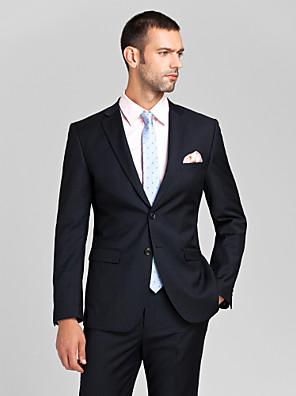 Suits Moderno Italiano Fino Comum 2 Butões Poliéster 2 Peças Azul Escuro Lapela Reta Sem Pregas (reta) Sem Pregas (reta)