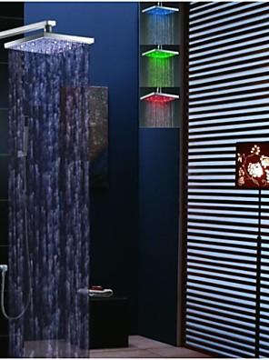 모던 벽내장 LED / 자동 온도 조절 / 레인 샤워 / 핸드샤워 포함 with  브라스 발브 두 핸들 네 구멍 for  크롬 , 샤워 수전
