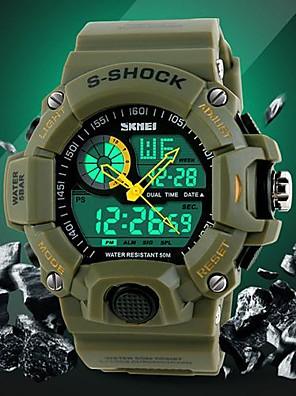 Herre Armbåndsur Japansk Quartz LCD / Kalender / Kronograf / Vandafvisende / Dual Tidszoner / alarm Gummi Band Sort / Grøn Brand- SKMEI