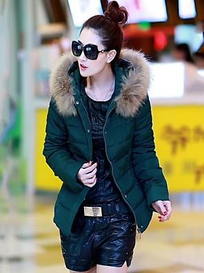 Incern®Women's Rabbit Fur Hoodie Collar Slim Thin Thick Winter Down Coat