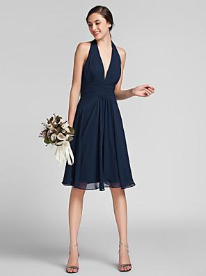 Lanting Bride® באורך  הברך שיפון / סאטן שמלה לשושבינה - מעטפת \ עמוד קולר פלאס סייז (מידה גדולה) / פטיט עם תד נשפך / סלסולים