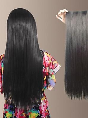 naturlig lang rett syntetiske og klippet i hårforlengelse med 5 klipp (flere farger)
