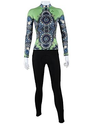 PALADIN® חולצה וטייץ לרכיבה לנשים שרוול ארוך אופניים נושם / ייבוש מהיר / עמיד / כיס אחורי חולצה+מכנס / מדים בסטים 100% פוליאסטרפרחוני