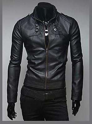 férfi divat vékony pu bőr kabát