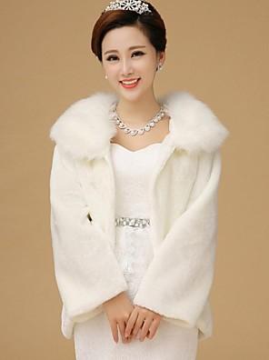 Fur Wraps / Wedding  Wraps / Fur Coats Coats/Jackets Long Sleeve Faux Fur White / Ruby Wedding Feathers / fur