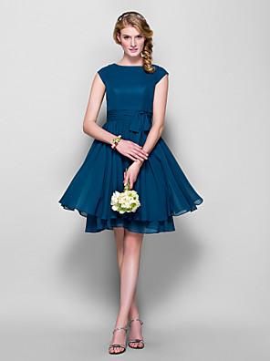 Lanting Bride® באורך  הברך שיפון שמלה לשושבינה - גזרת A / נסיכה עם תכשיטים פלאס סייז (מידה גדולה) / פטיט עםפפיון(ים) / כפתורים / סרט /