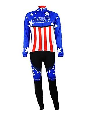 KOOPLUS® חולצה וטייץ לרכיבה לנשים / לגברים / יוניסקס שרוול ארוך אופניים נושם / רוכסן עמיד למים / לביש / רצועות מחזירי אורמותאם אישית /