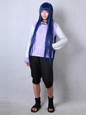 Inspirado por Naruto Hinata Hyuga Anime Fantasias de Cosplay Ternos de Cosplay Cor Única Preto / Púrpura Manga Comprida Casaco / Shorts