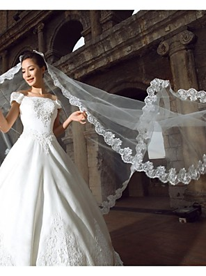 Véus de Noiva Uma Camada Véu Catedral Borda com aplicação de Renda 118,11 em (300 centímetros) Organza / Renda