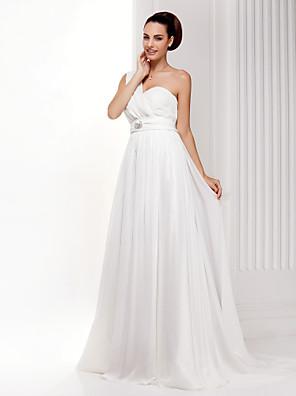 Lanting Bride® Linha A / Princesa Pequeno / Tamanhos Grandes Vestido de Noiva - Clássico e atemporal Cauda Escova Mula Manca Chiffon com