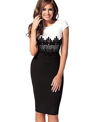 kvinders blonder bodycon midi kjole, rund hals korte ærmer