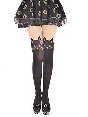 גרביים וגרביונים לוליטה מתוקה Cosplay שמלות לוליטה Black דפוס / הדפס חיות גרביונים ל קטיפה