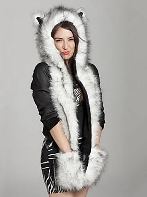 Women's Husky Fur Hat with Gloves