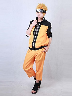 Inspirado por Naruto Naruto Uzumaki Anime Fantasias de Cosplay Ternos de Cosplay Patchwork Laranja Manga Comprida Casaco / Calças