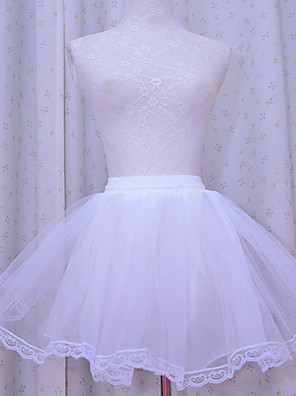 חצאית לוליטה קלאסית ומסורתית לוליטה Cosplay שמלות לוליטה לבן אחיד לוליטה אורך קצר שמלה תחתית ל נשים אורגזנה