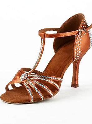 nem szabható női tánc cipő, latin / salsa / bálterem szatén lobbant sarok 7,5 cm-es sarok magasság barna