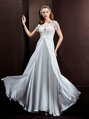Lanting Bride® A-Linie / Princess Drobná / Nadměrné velikosti Svatební šaty Průsvitné Na zem Klenot Krajka / Saténový šifon s