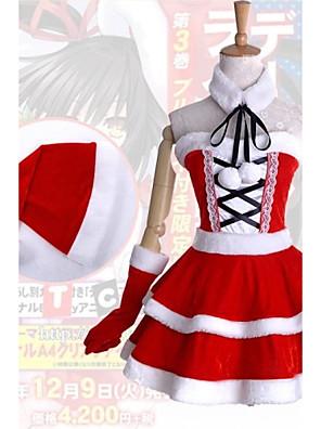 קיבל השראה מ Date A Live Kurumi Tokisaki אנימה תחפושות קוספליי חליפות קוספליי / שמלות טלאים לבן / אדום בלי שרווליםשמלה / כובע / Collar /