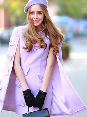 Women's Formal Cute Dress,Solid Above Knee Long Sleeve Purple Polyester / Spandex Winter