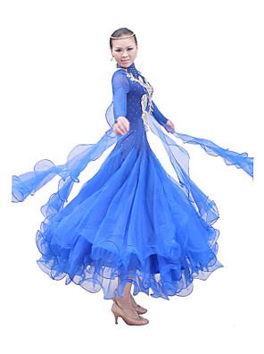 ריקודים סלוניים תלבושות / שמלות בגדי ריקוד נשים ביצועים / אימון כותנה ממורצרת / סאטן אלסטי דמוי משי / טול שרוול ארוך