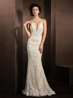 Lanting Bride® Mořská panna Drobná / Nadměrné velikosti Svatební šaty Dlouhá vlečka Klenot Krajka s