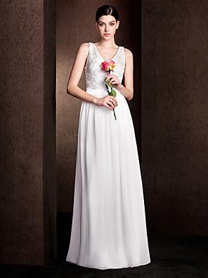 Lanting Bride® עד הריצפה שיפון / תחרה / סאטן נמתח שמלה לשושבינה  מעטפת \ עמוד צווארון וי פלאס סייז (מידה גדולה) / פטיט עם תחרה