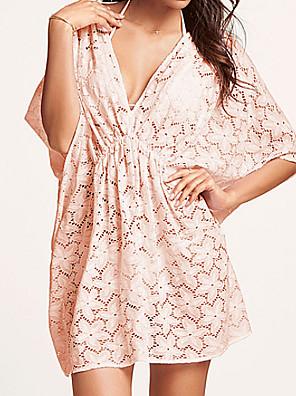 női fehér / kék / pink elegáns szexi mély V üreges-out kintwear strand ruha