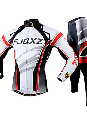 FJQXZ® חולצה וטייץ לרכיבה לגברים שרוול ארוך אופניים נושם / ייבוש מהיר / עמיד אולטרה סגול ג'רזי / טייץ רכיבה על אופניים / מדים בסטים