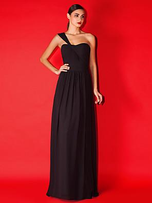 Lanting Bride® עד הריצפה שיפון שמלה לשושבינה  גזרת A כתפיה אחת פלאס סייז (מידה גדולה) / פטיט עם בד בהצלבה / סלסולים / סיכה מקריסטל